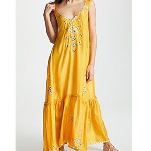 Juliet Dunn Silk Maxi V Dress O/S